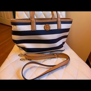 Tory Burch Kerrington Stripe Tote Cross body Bag